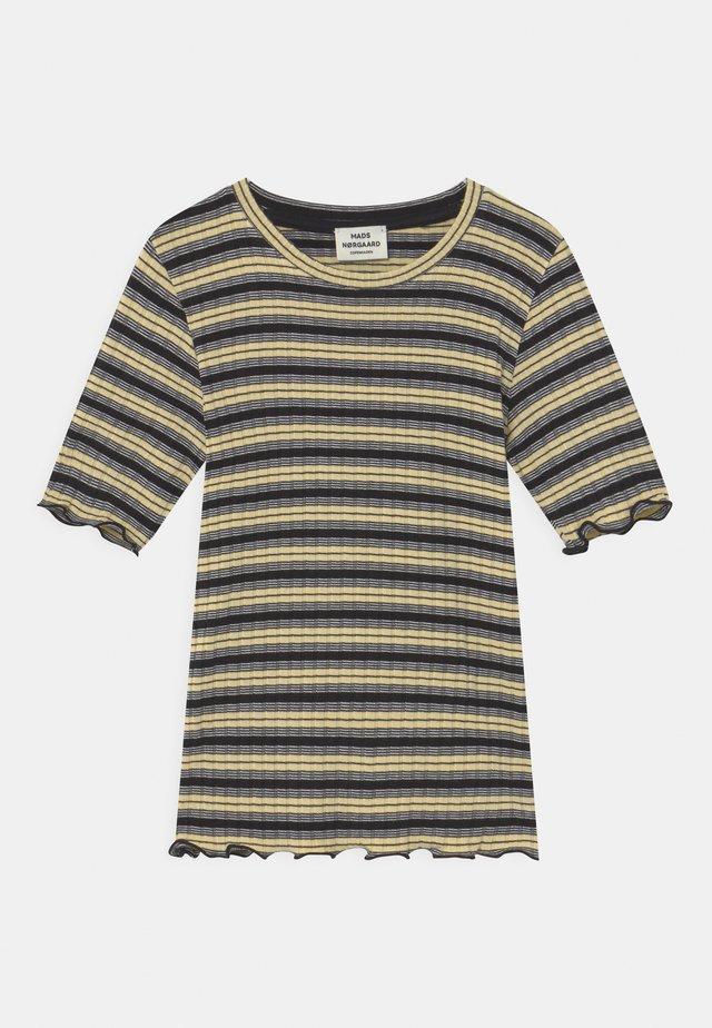 STRIPE TUVIANA UNISEX - T-shirt imprimé - black/pale banana/white