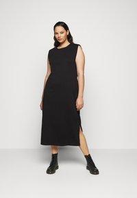Vero Moda Curve - VMEDEN CALF DRESS CURVE - Jersey dress - black - 0