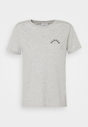 CREW NECK WITH LOGO ON CHEST - Print T-shirt - taupe