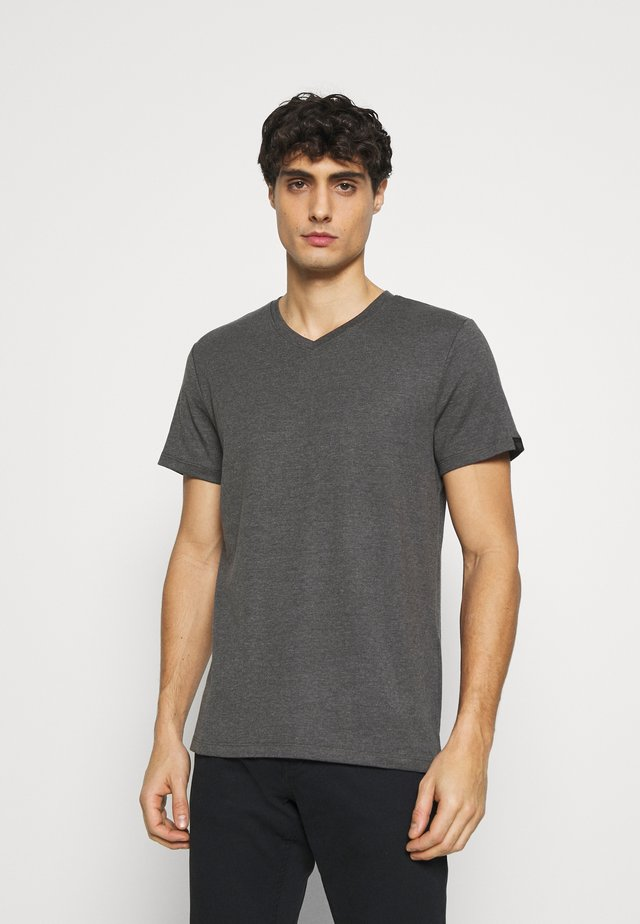 BASIC VNECK TEE - Basic T-shirt - dark grey melange