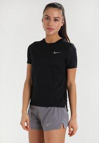 Nike Performance - DRY MILER - Basic T-shirt - black/reflective silver - 0