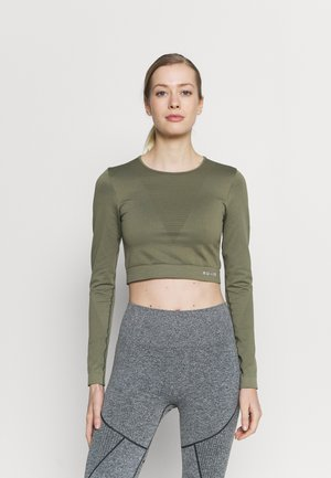 SEAMLESS LONG SLEEVE CROPPED - Topper langermet - green