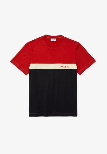 Print T-shirt - rouge / bleu marine / beige
