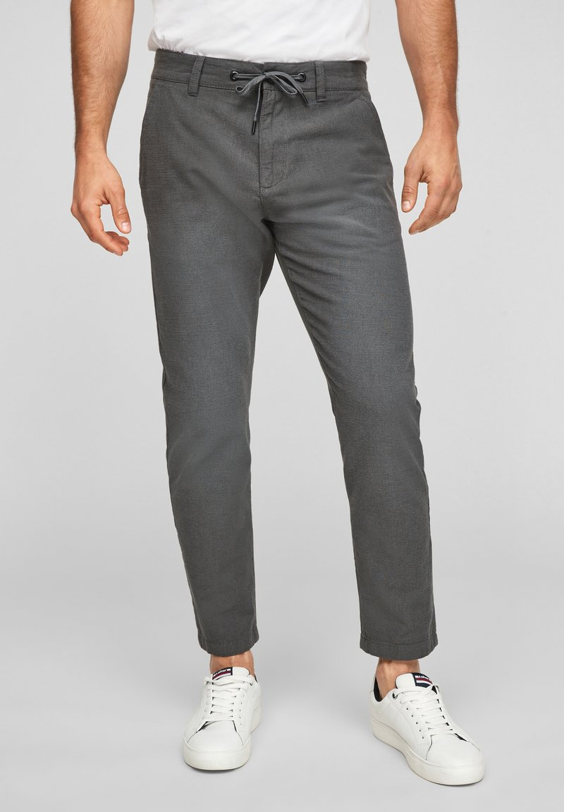 Q/S designed by - SLIM FIT - Trousers - anthracite