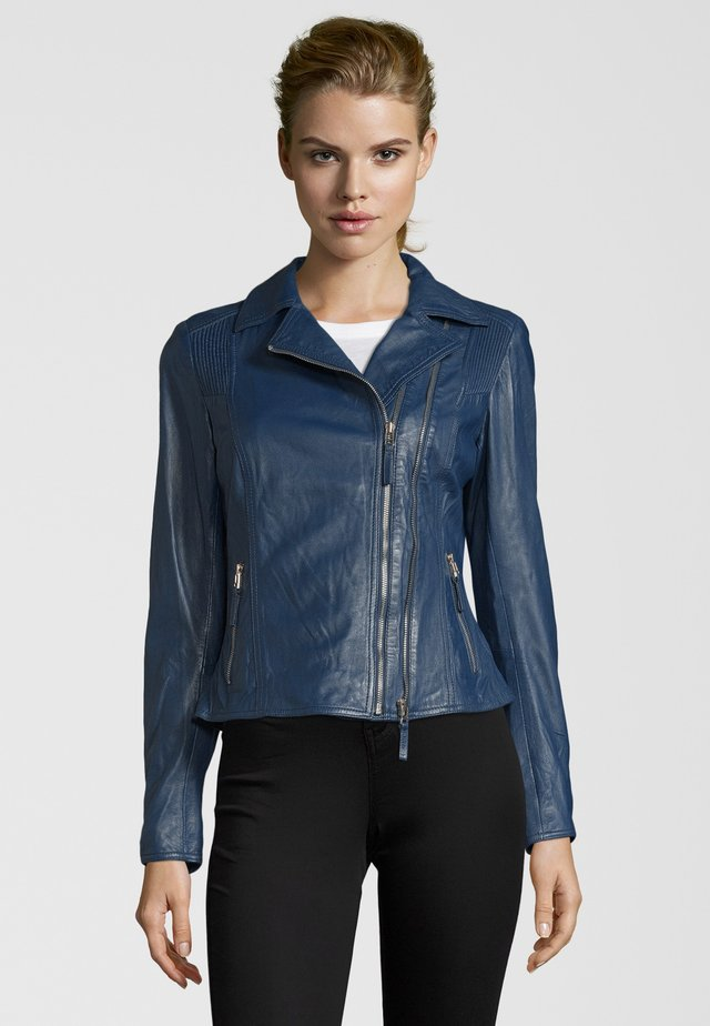 NINA - Leather jacket - blue