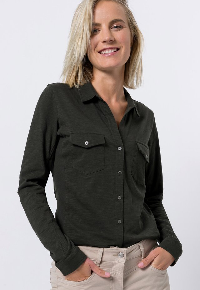 Button-down blouse - olive green