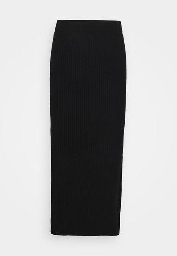 ONLNELLA LONG SLIT SKIRT - Maxi skirt - black