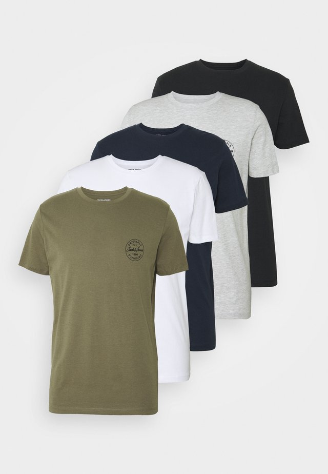 JORMORE CREW NECK CHEST 5 PACK - T-shirt basic - white