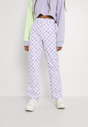 CHECK PANTS - Trousers - lavender/beige
