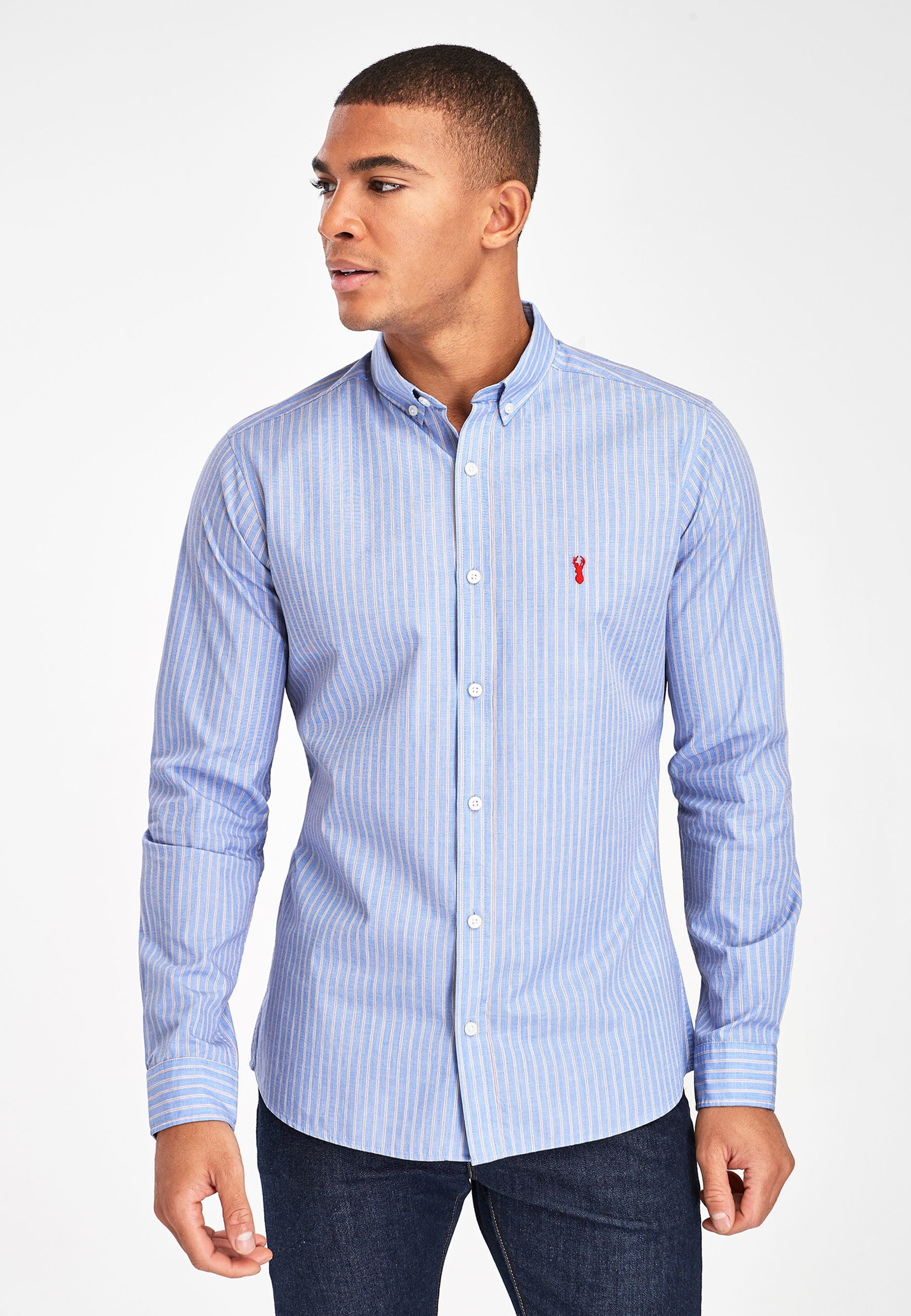 Uomo BLUE/PINK SLIM FIT STRIPE STAG SHIRT - Camicia