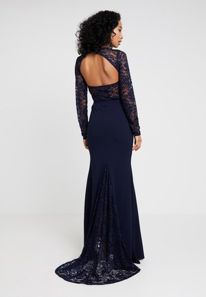 BRIDESMAID BACKLESS LACE DETAIL FISHTAIL MAXI DRESS WITH TRAIN  - Suknia balowa - navy