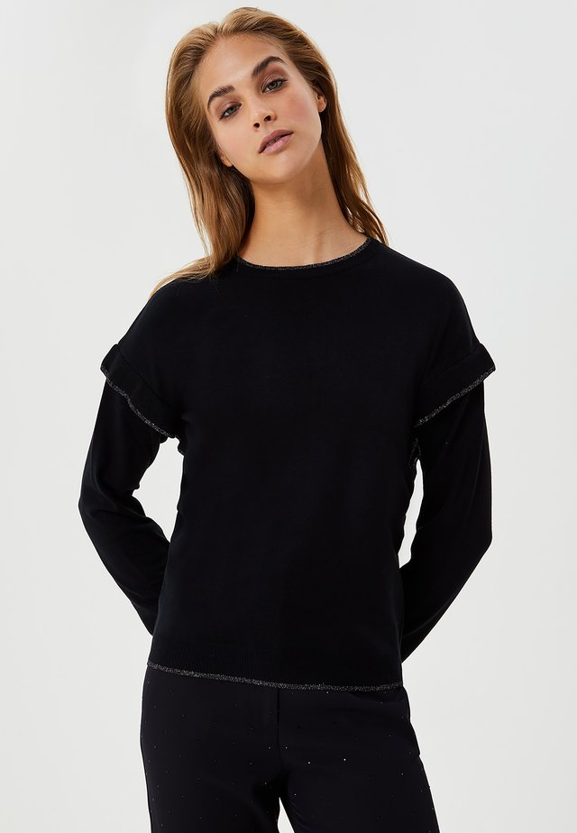 WITH RUCHING - Maglione - black