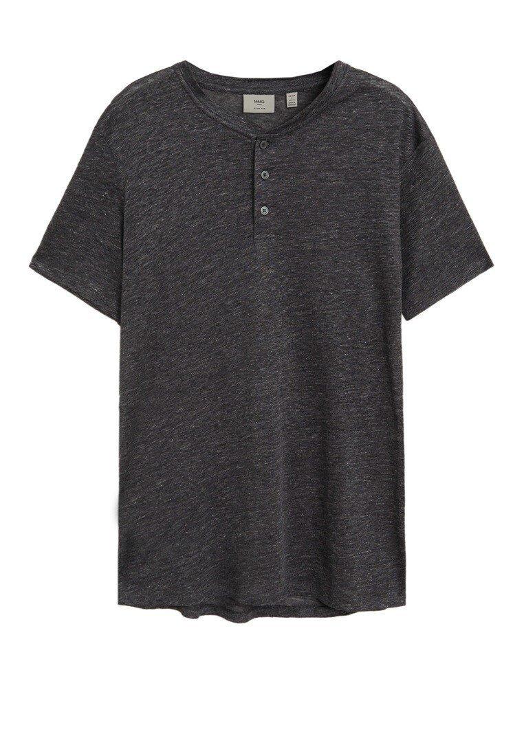 Mango T-Shirt basic - mittelgrau meliert/grau-meliert 7p0p6p