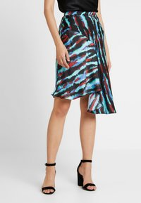House of Holland - ASYMMETRIC TIE DIE SKIRT - A-line skirt - blue/red/multi - 0