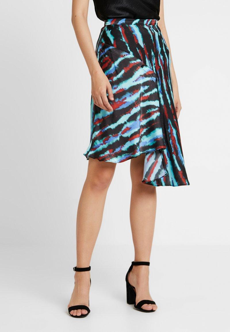 House of Holland - ASYMMETRIC TIE DIE SKIRT - A-line skirt - blue/red/multi