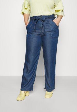 SOFT WIDE LEG PANT - Broek - mid blue