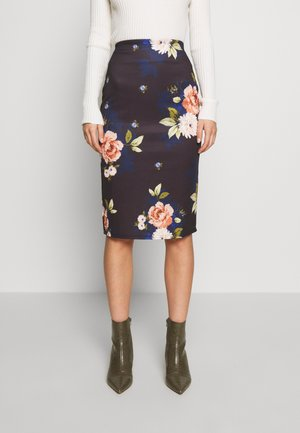 PRINTED SCUBA PENCIL SKIRT - A-line skirt - black