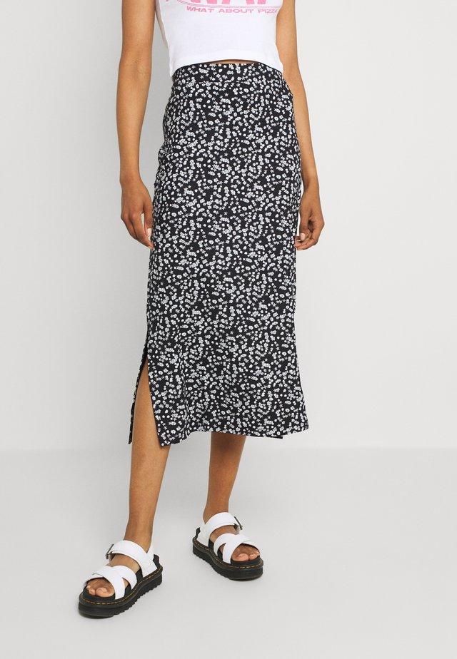 BASIC Midaxi skirt - Maxi skirt - black/white