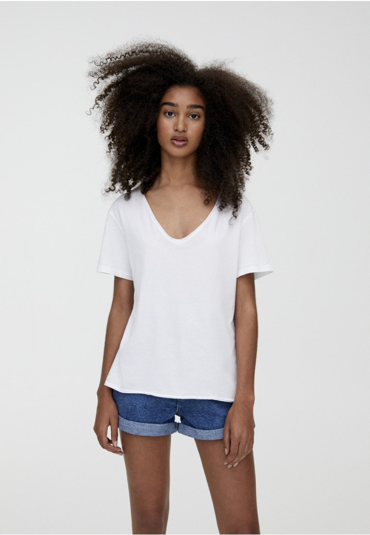 PULL&BEAR - T-shirt basic - white