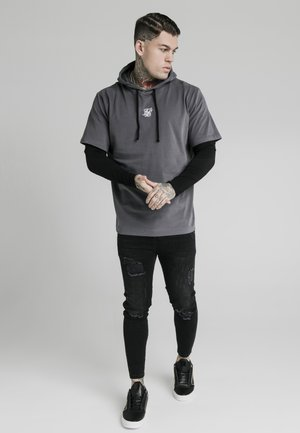 BOXY DOUBLE SLEEVE HOODIE - Jersey con capucha - grey/black