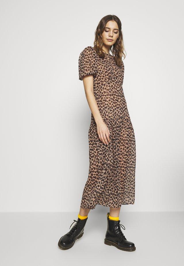 LEOPARD LUCIA SHEER DRESS - Robe d'été - brown