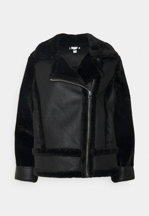 MIX BIKER - Leather jacket - black