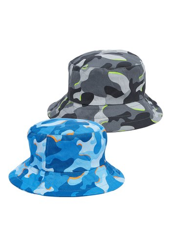 BLUE/GREY 2 PACK CAMOFLAGE BUCKET HATS (YOUNGER)