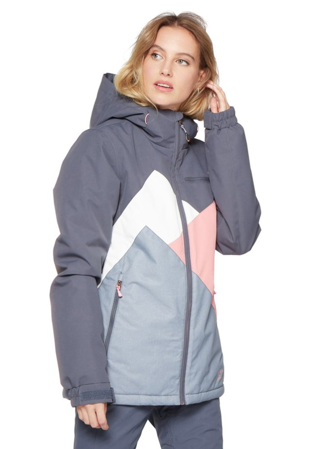 Snowboard jacket - mottled dark blue/salmon/white