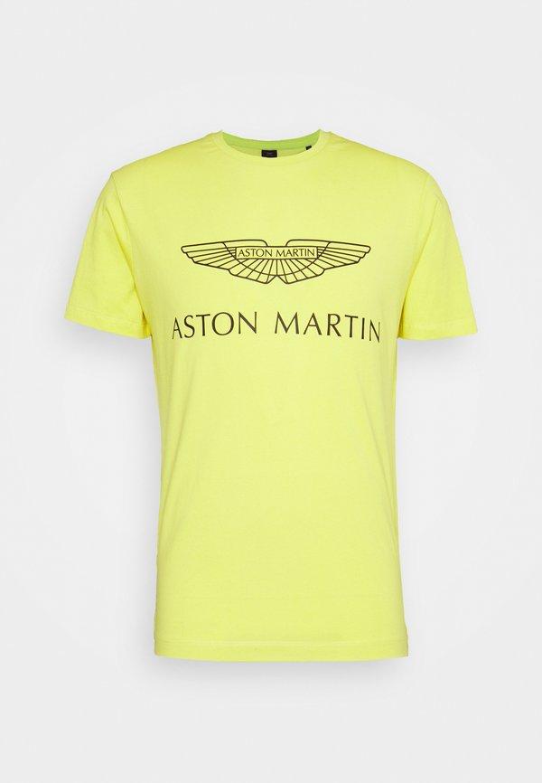 Hackett Aston Martin Racing AMR LOGO - T-shirt z nadrukiem - millennium yellow/żÓłty Odzież Męska XYTE