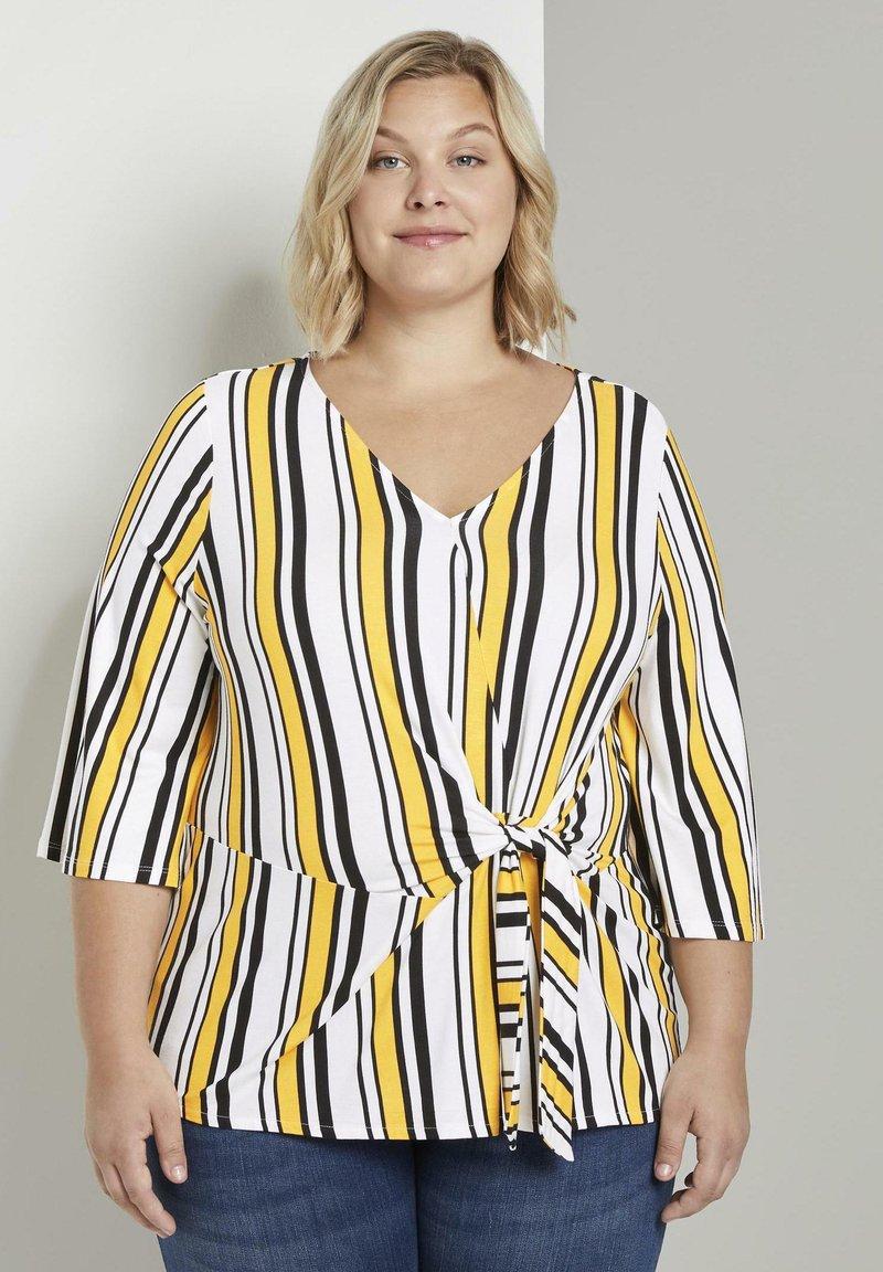 MY TRUE ME TOM TAILOR - WRAP - Long sleeved top - black yellow stripe