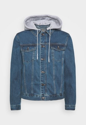 JACKET WITH DETACHABLE HOOD - Denim jacket - blue denim