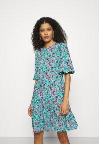 Closet - GATHERED TIERED DRESS - Day dress - turquoise - 0