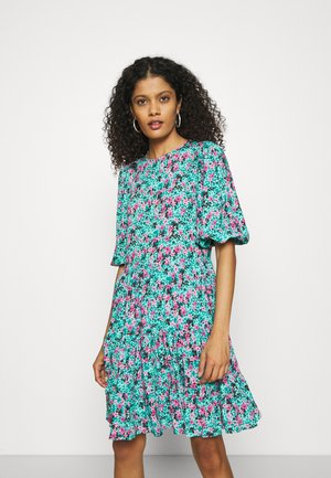 GATHERED TIERED DRESS - Day dress - turquoise