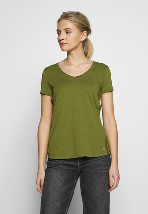 SHORT SLEEVE ROUNDED V-NECK RAW-CUT DETAILS - T-paita - seaweed green