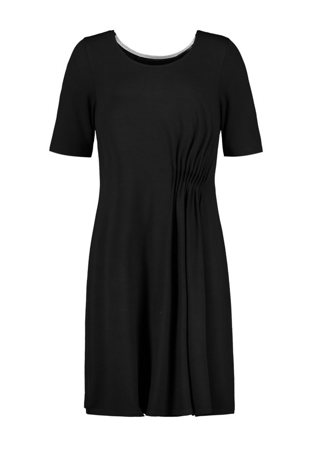 MIT SEITLICHER RAFFUNG - Jersey dress - black