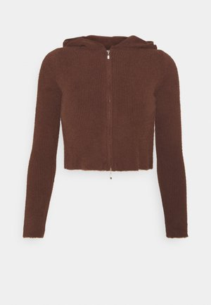 HOODED FLUFF ZIP UP - Cardigan - chocolatte fondue