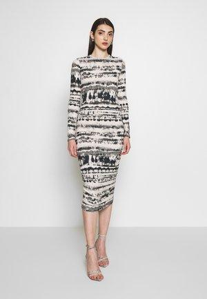 TIE DYE RUCHED SIDES MIDI DRESS - Denní šaty - black