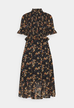 FLORAL HIGH NECK MIDI DRESS - Kjole - black