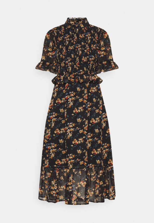 FLORAL HIGH NECK MIDI DRESS - Sukienka letnia - black