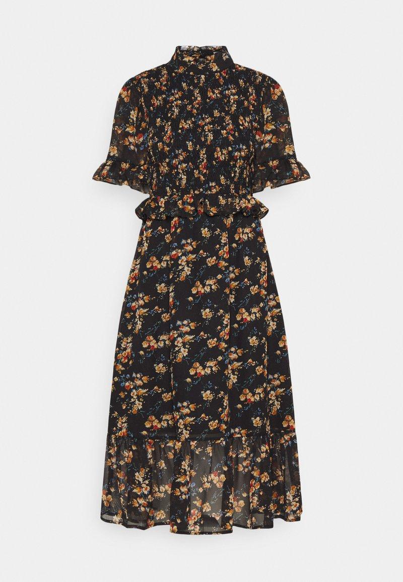 Missguided - FLORAL HIGH NECK MIDI DRESS - Robe d'été - black