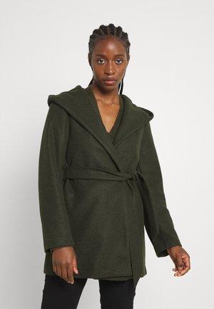 ONLTRILLION BELT HOODIE COATIGAN - Short coat - rosin/black melange