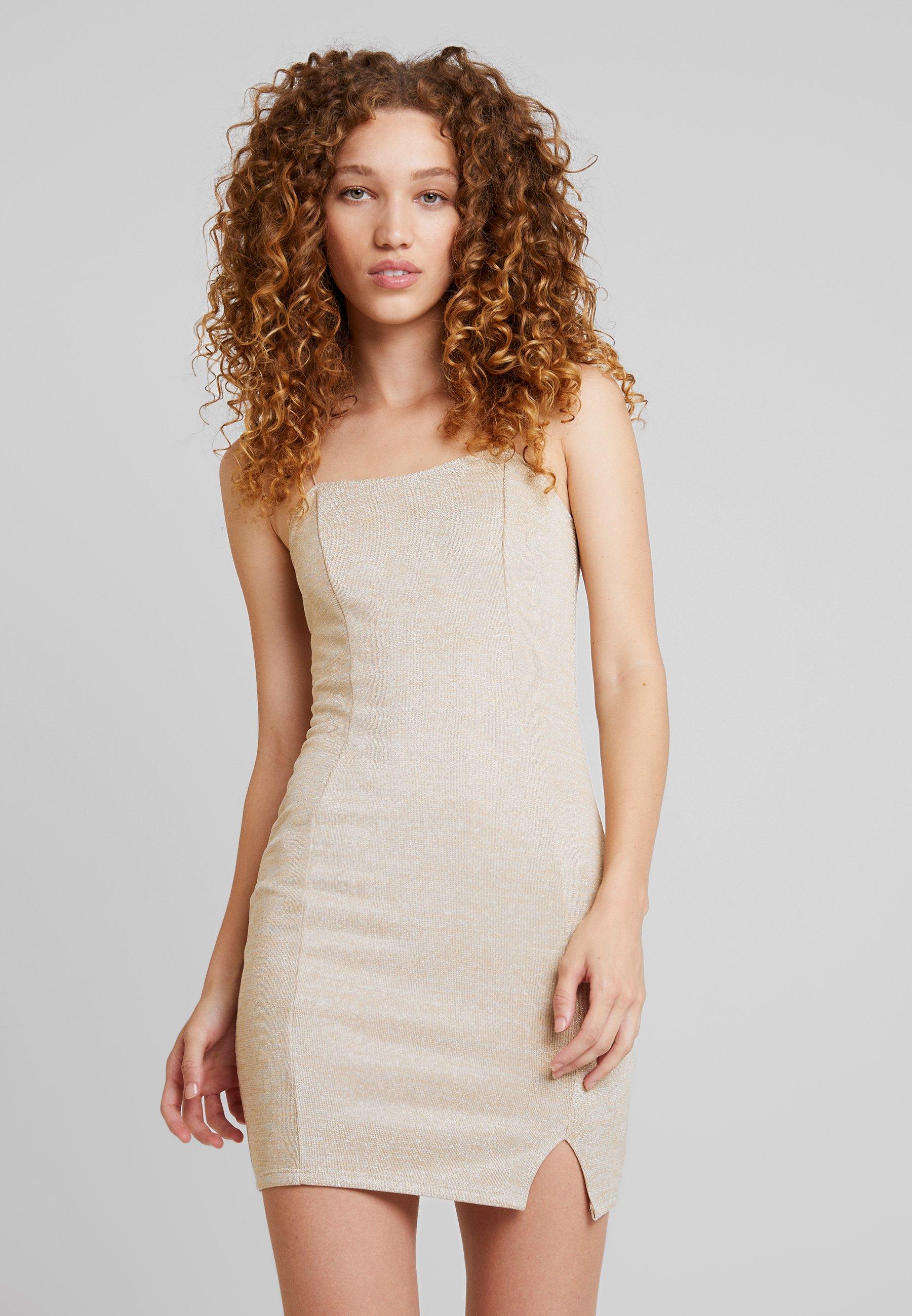 GLITTER SLIT DRESS - Cocktailkleid/festliches Kleid - gold
