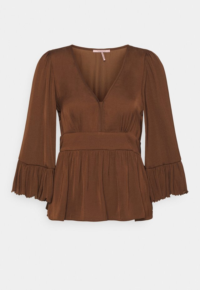 DRAPEY WITH SCALLOPED EDGES - Camicetta - brown