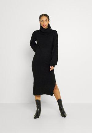 SLOUCHY JUMPER DRESS WITH PUFF LONG SLEEVES ROLL - Strikket kjole - black