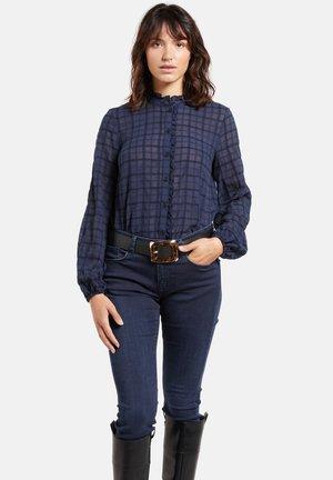 CON ROUCHE - Button-down blouse - blu