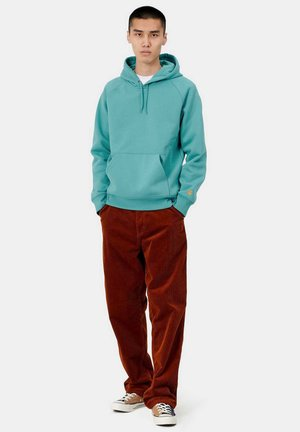 Hoodie - frosted turquoise / gold