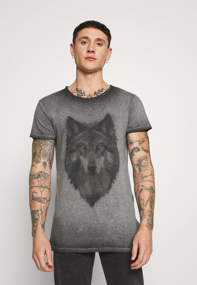 WOLF PORTRAIT - Camiseta estampada - vintage black