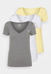 Hollister Co. - 3 PACK - Print T-shirt - white/mellow yellow/b25 - 0