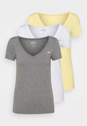 3 PACK - T-shirt print - white/mellow yellow/b25