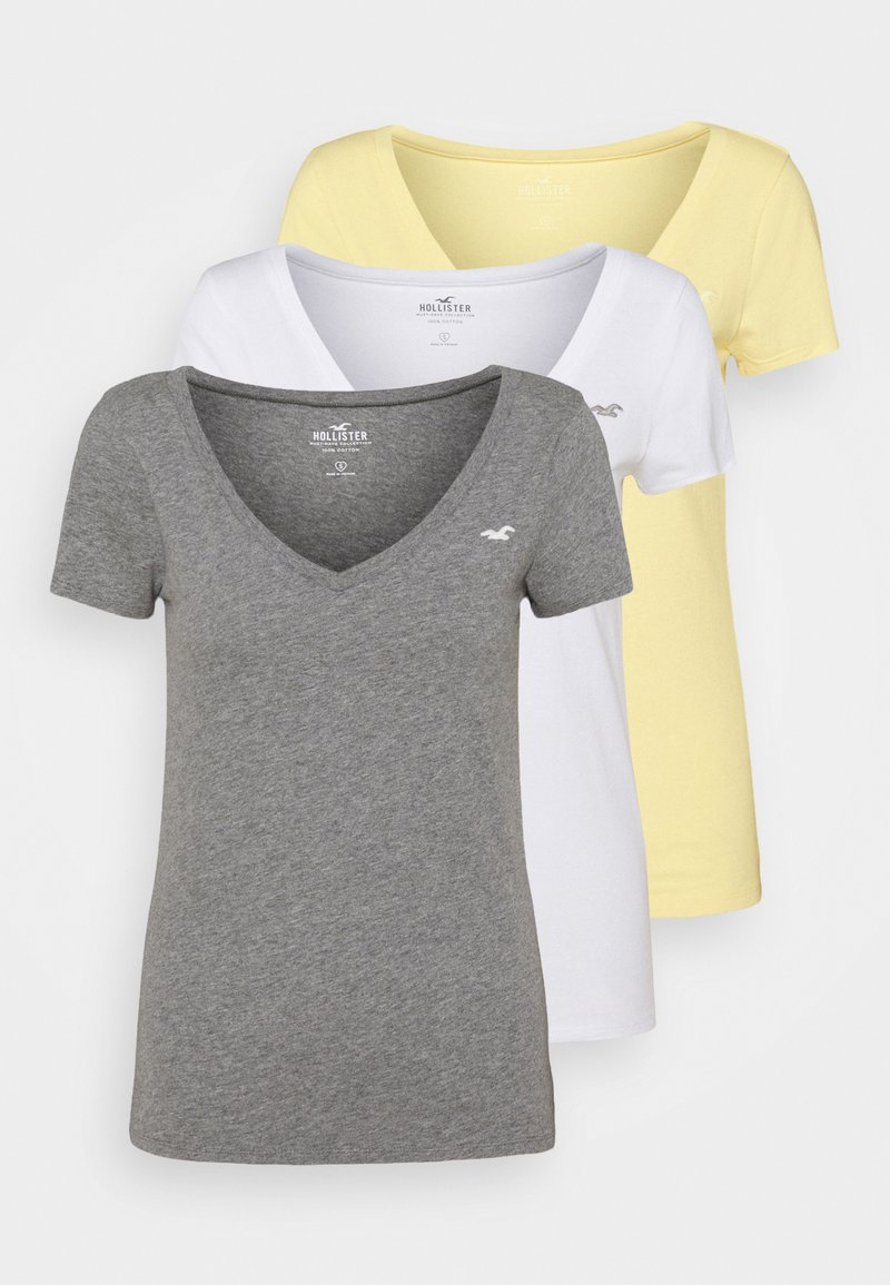 Hollister Co. - 3 PACK - Print T-shirt - white/mellow yellow/b25